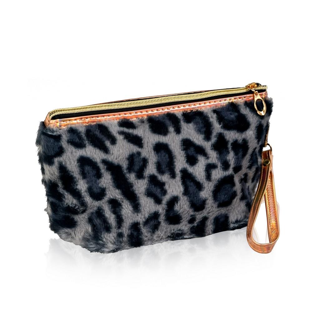 Фото - Косметичка - трапеция Ameli меховая - леопард , с ремешком-петлей косметичка конверт ameli со звездой