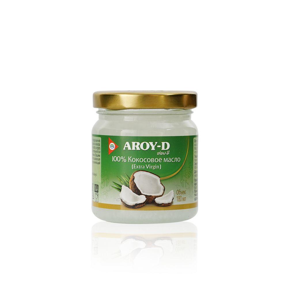 Фото - Кокосовое масло Aroy-D 100% Extra virgin 180мл aroy d масло 100% кокосовое extra virgin 0 18 л