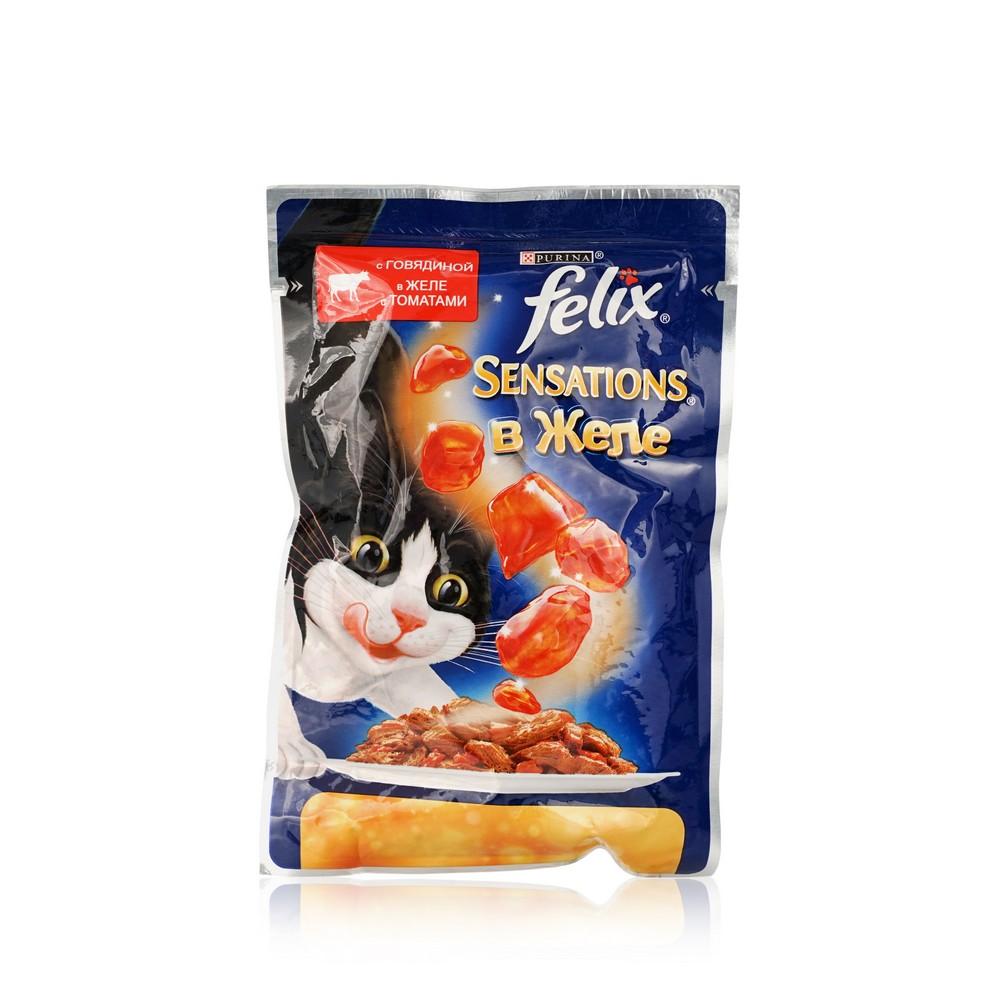 Влажный корм для взрослых кошек Felix Аппетитные кусочки с говядиной в желе с томатами 85г корм для кошек вискас крем суп с курицей 85г