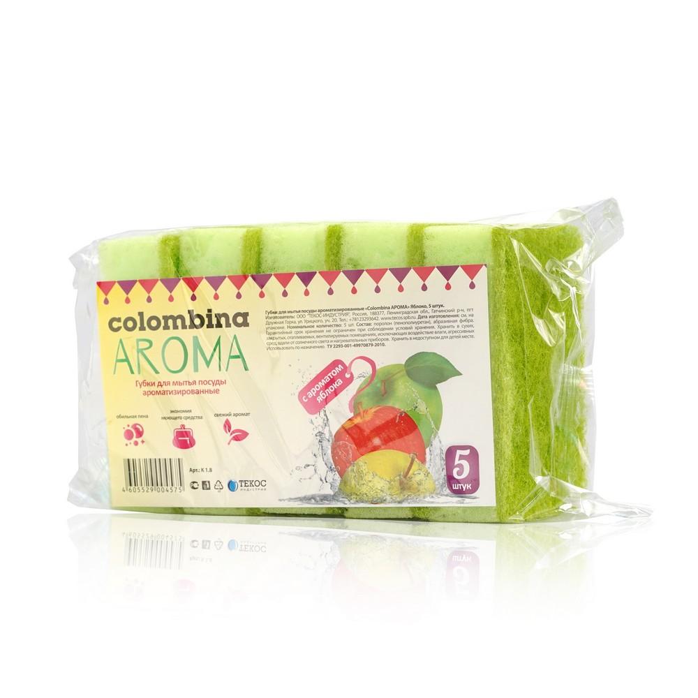 губка для мытья посуды rainbow home дельфин Губка для мытья посуды Colombina Aroma ароматизированная , с ароматом яблока 5шт