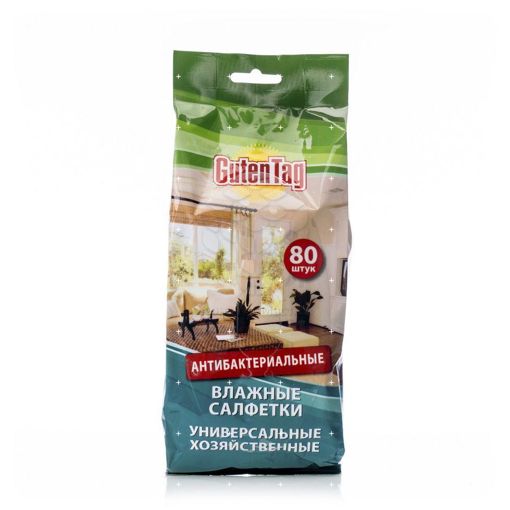 Влажные салфетки Guten Tag антибактериальные , хозяйственные 80шт салфетки влажные guten tag для стекол и зеркал 24шт