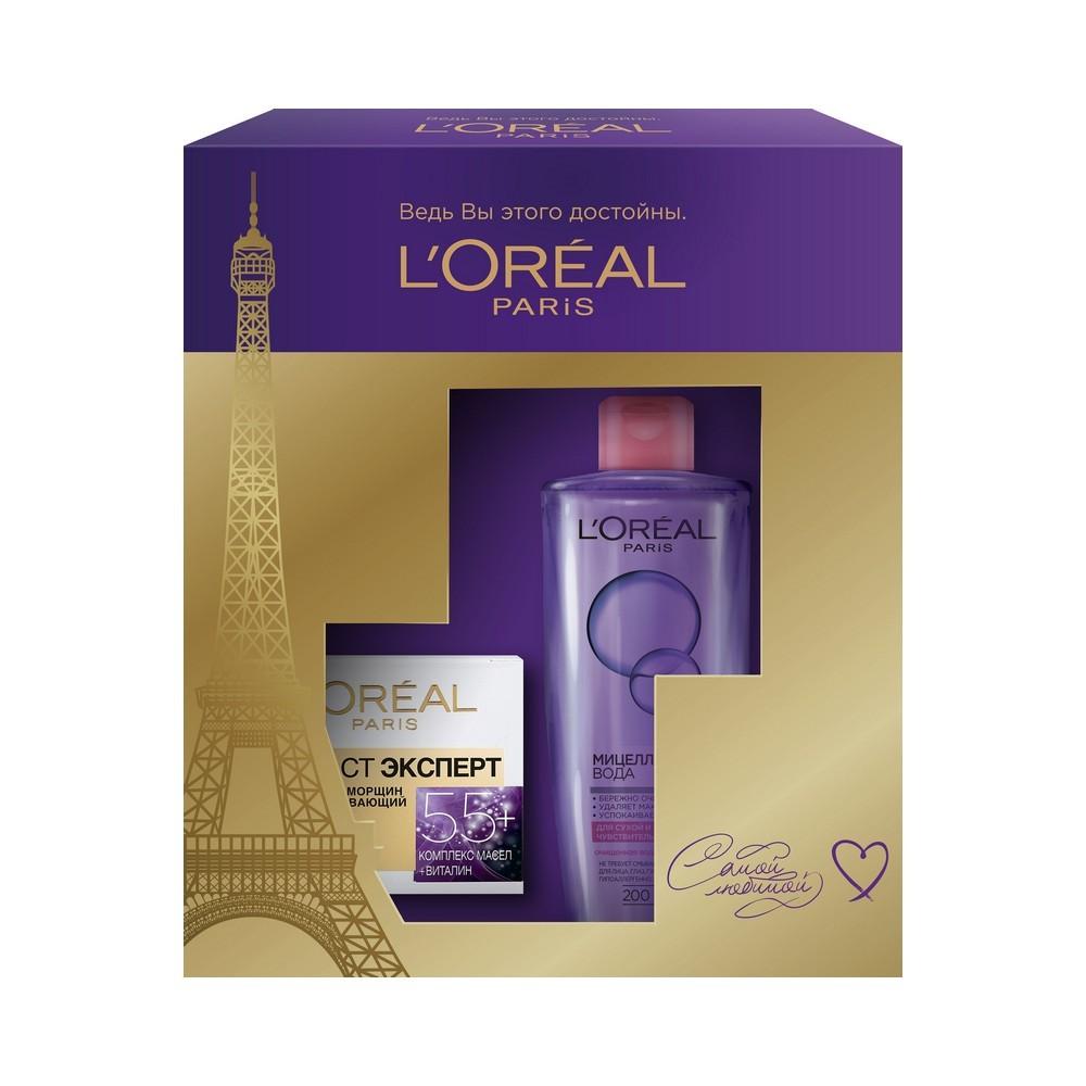 Женский Подарочный набор LOreal Paris Возраст Эксперт ( дневной крем для лица 55+ 50мл + мицеллярная вода сухой кожи 200мл )