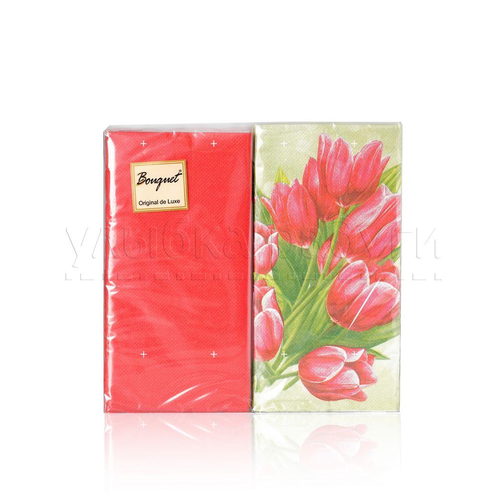 Бумажные салфетки Bouquet Original de Luxe  Тюлпаны на зелёном , 2х-слойные 33*33см 20шт