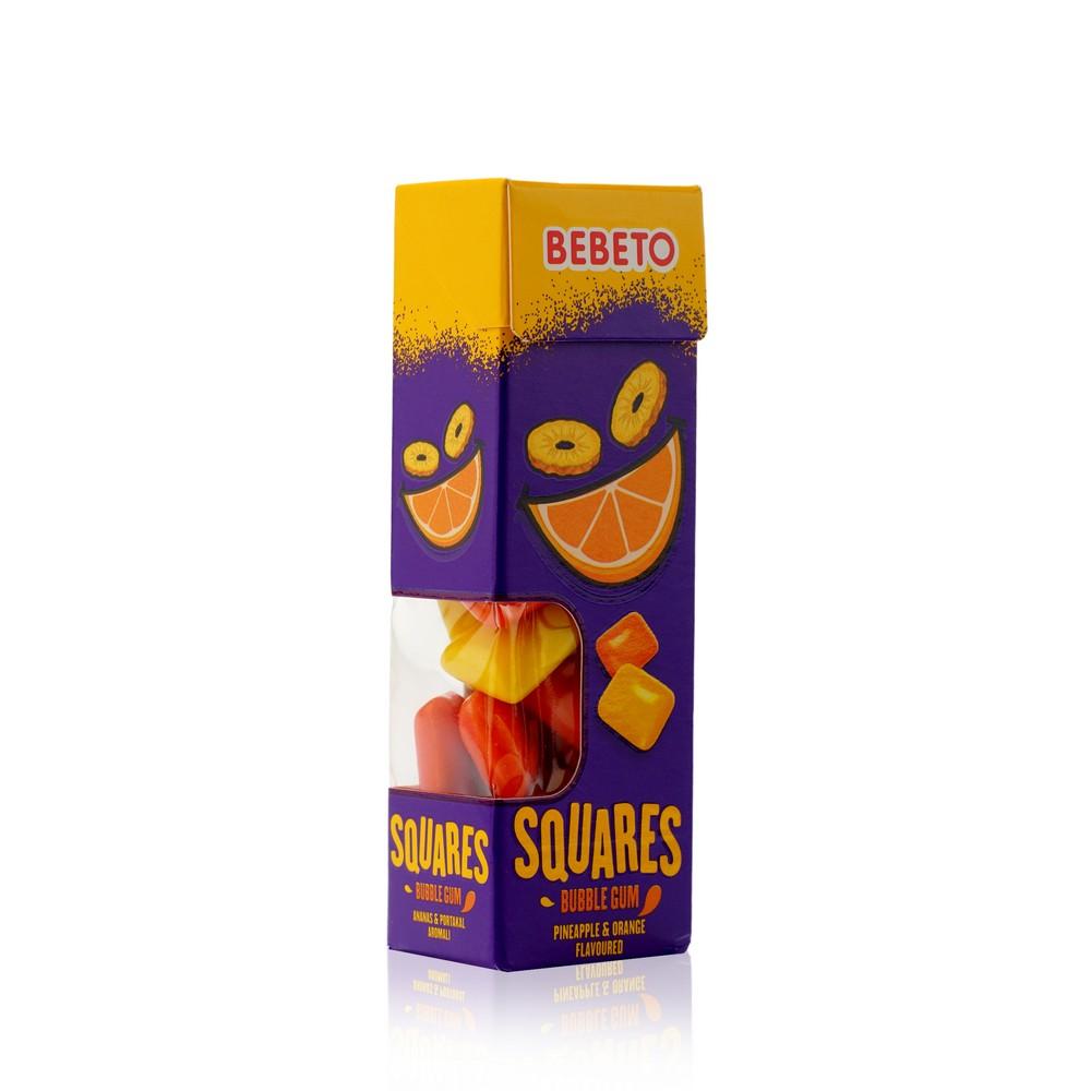 Фото - Жевательная резинка Bebeto  Squares  со вкусом апельсина и ананаса 31г батончики глазированные guarchibao pro snack со вкусом ананаса 5 шт