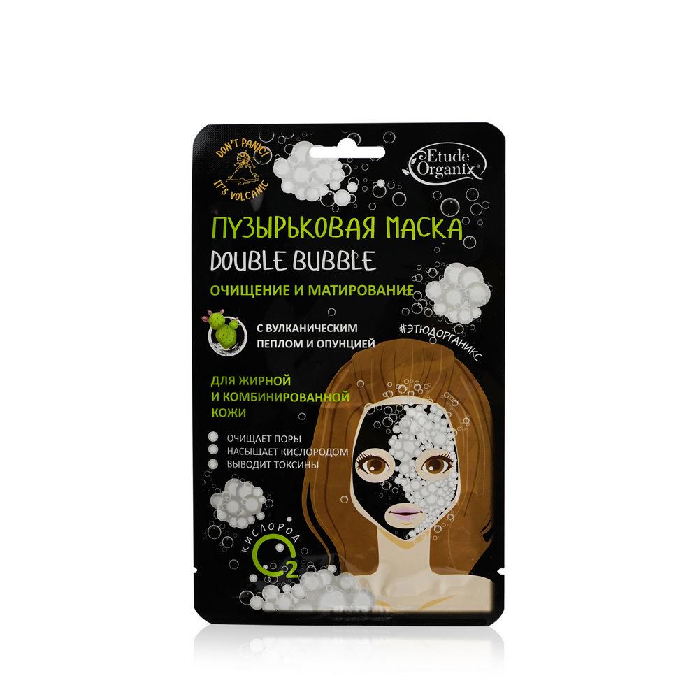 Фото - Пузырьковая маска для лица Etude organix Double Bubble очищение и матирование , для жирной и комбинированной кожи , с вулканическим пеплом и опунцией 25г маска etude organix wow detox strawberry 25 г