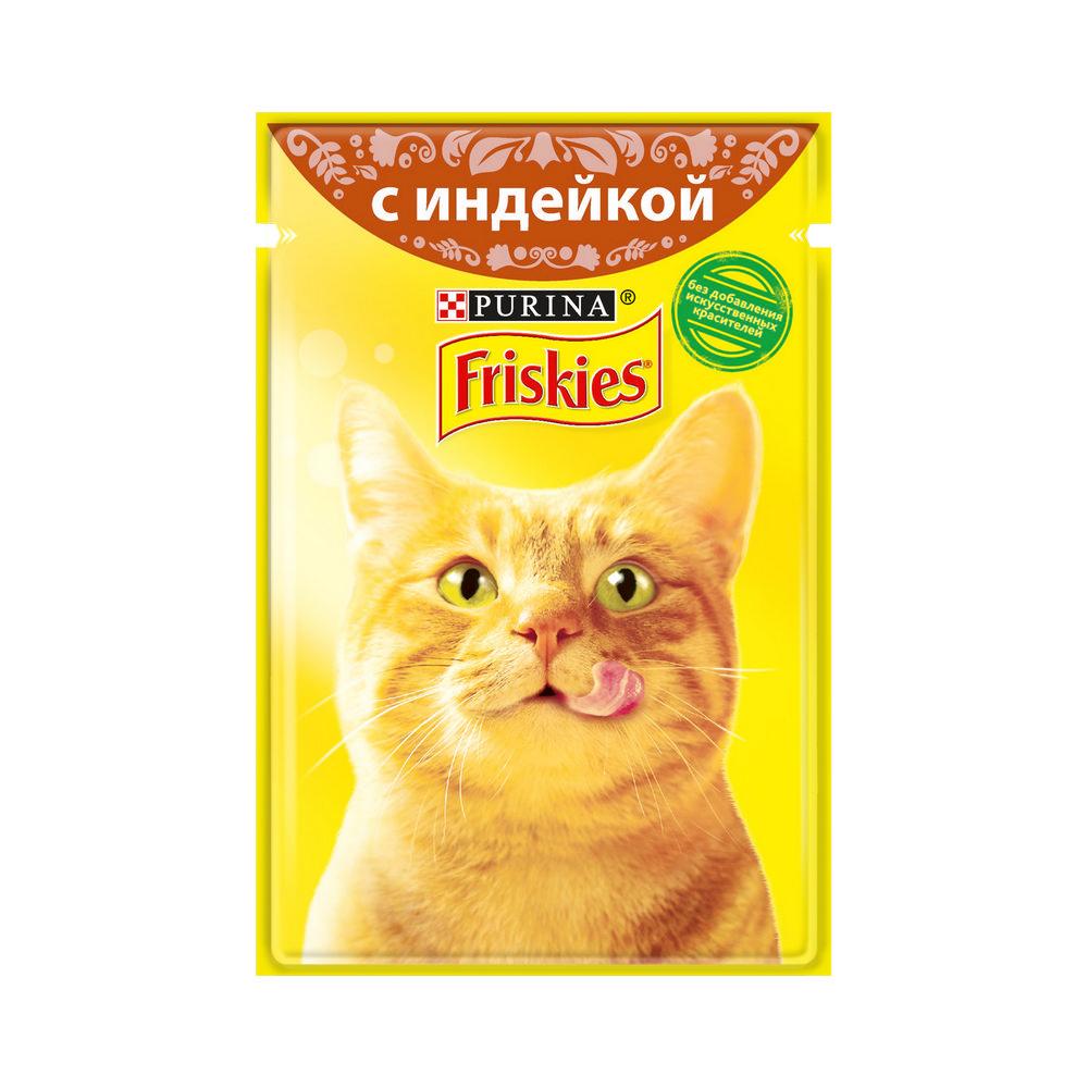 Влажный корм для кошек Friskies с индейкой в подливе , 85г корм для кошек вискас крем суп с курицей 85г