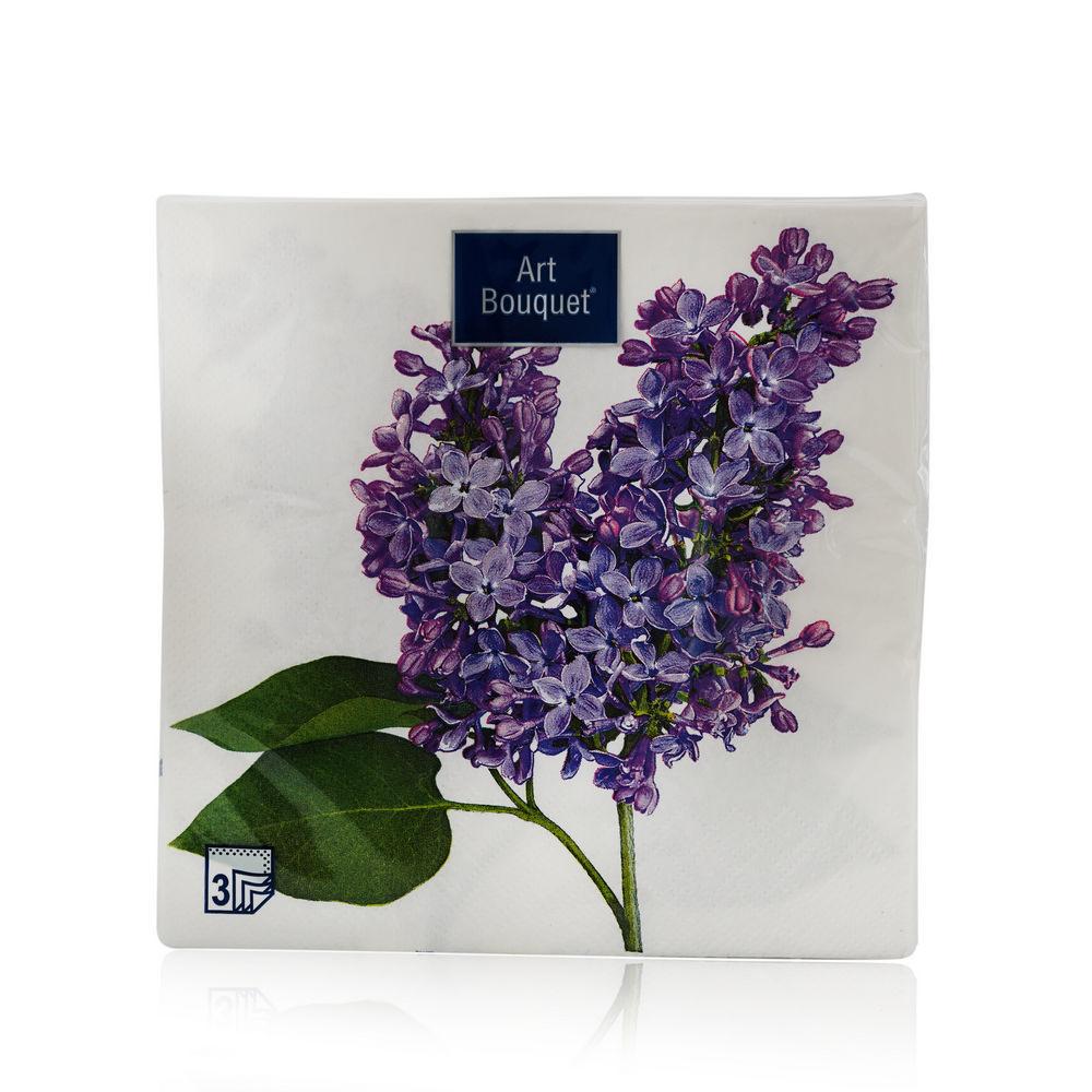 Бумажные салфетки Bouquet  Сирень 3х-слойные , 33*33см 20шт