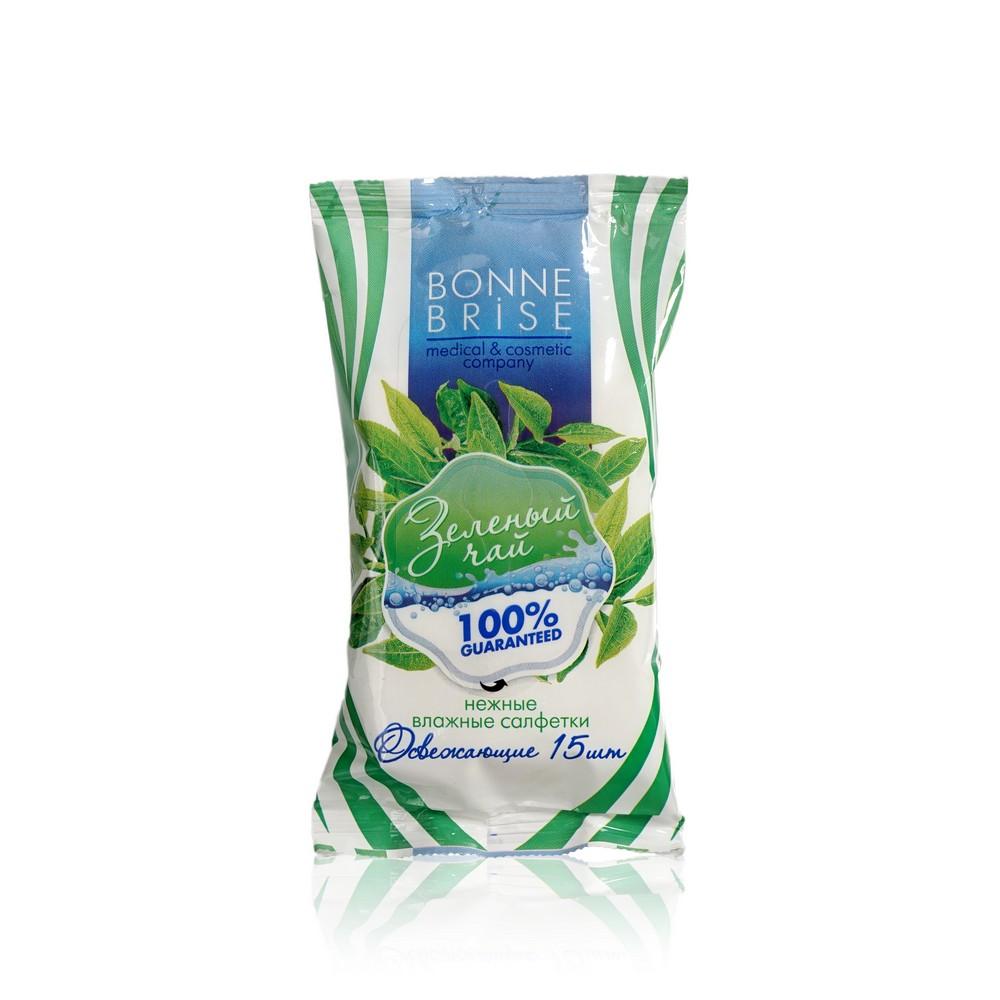 Освежающие влажные салфетки Bonne Brise  зеленый чай 15шт