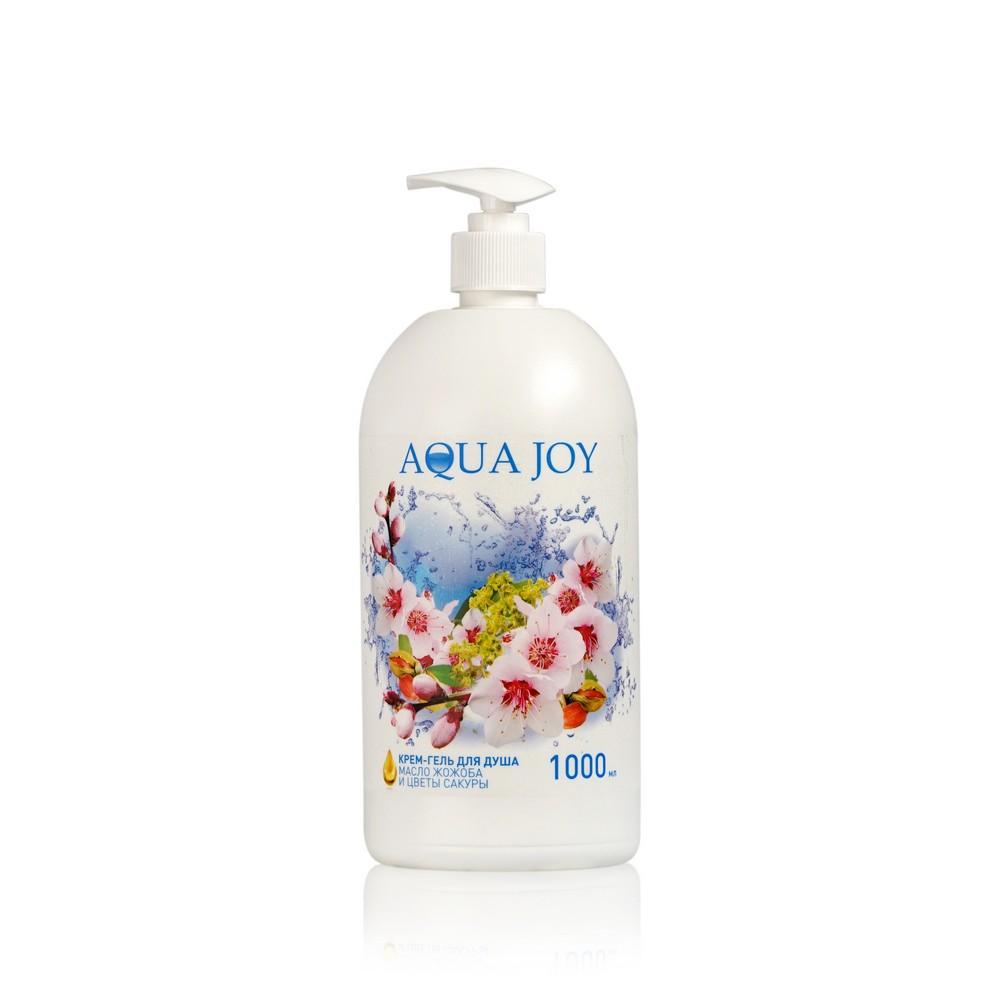 Крем - гель Aqua Joy для душа , масло жожоба и цветок сакуры 1000мл