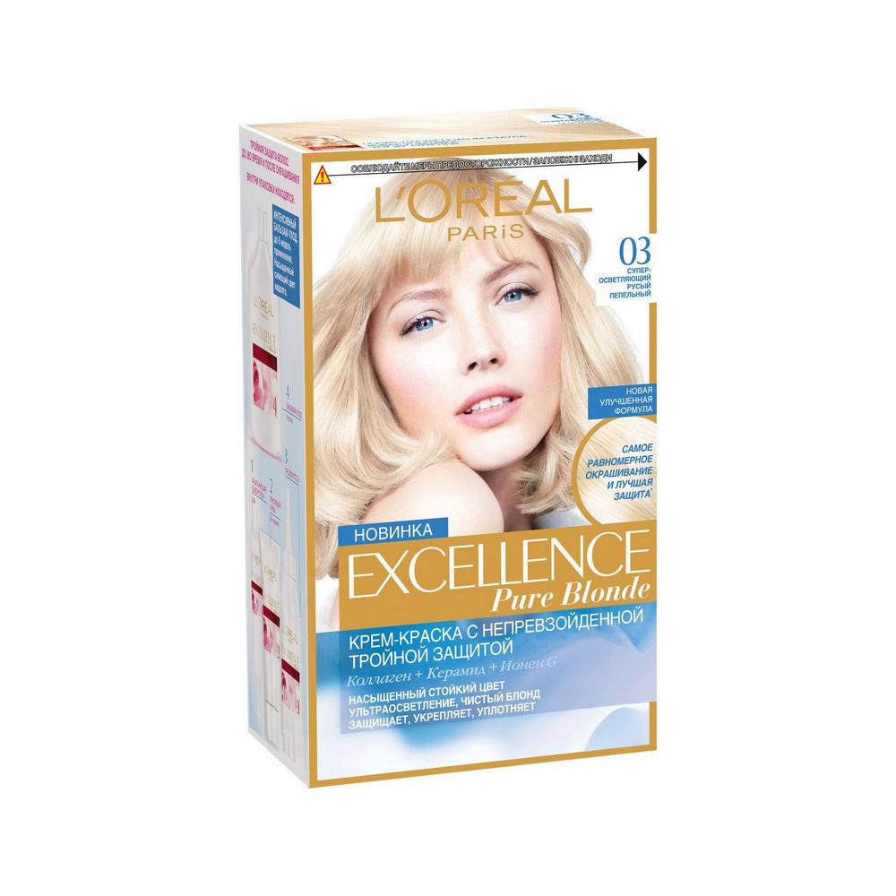 Крем - краска L'Oreal Paris Excellence Pure Blonde Ультраосветление для волос 03 Супер-осветляющий русый пепельный l oreal paris масло для волос l oreal paris elseve экстраординарное восстанавливающее 100 мл