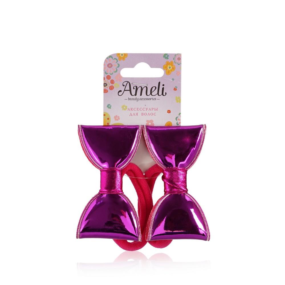 Детская резинка для волос Ameli с блестящими бантиками 2шт