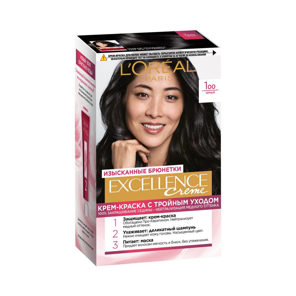 Крем - краска L'Oreal Paris EXCELLENCE Creme стойкая для волос 100 Черный l oreal paris масло для волос l oreal paris elseve экстраординарное восстанавливающее 100 мл
