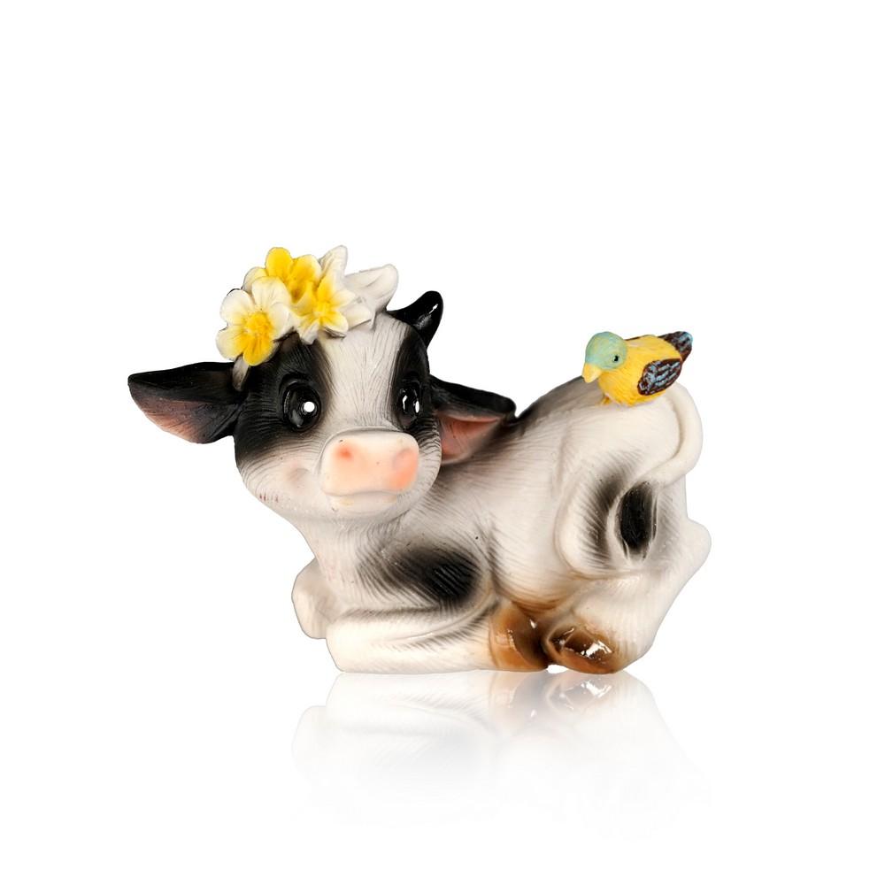 Сувенир Artus Новый Год  Коровка в венке с птичкой, лежащая  керамика 5см набор форм для выпечки menu 5см 3 5см 50шт бумага