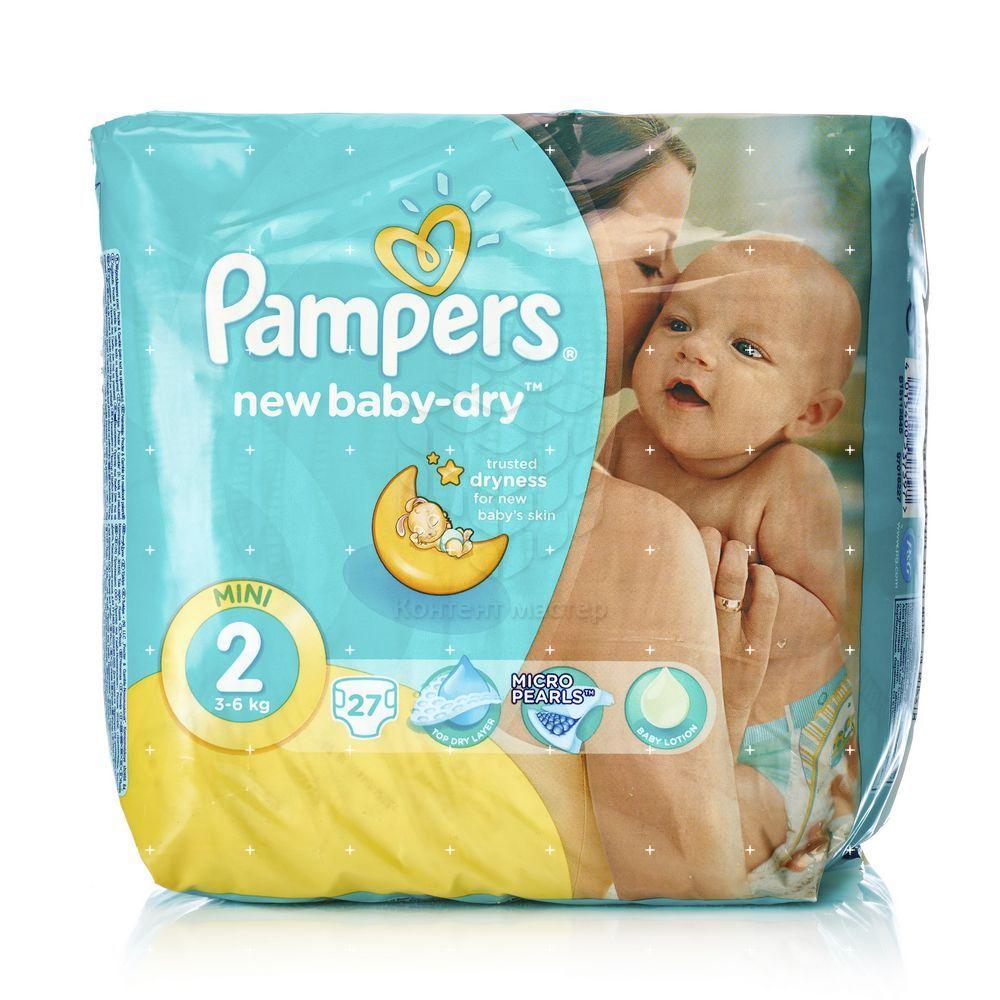 Подгузники Pampers New baby-dry для детей mini 3-6 кг 27шт - купить ... 735eaa8f6f6