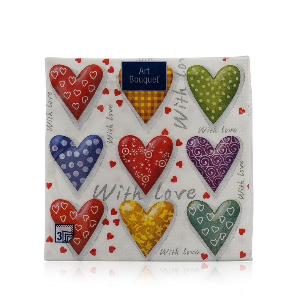 Бумажные салфетки Bouquet  Сердца 3х-слойные , 33*33см 20шт