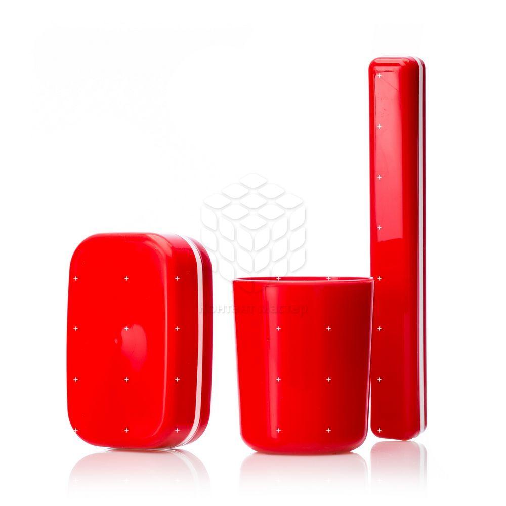 Набор для ванной Полимербыт ( стакан , мыльница футляр зубной щетки ) из пластика, цвета в ассортименте