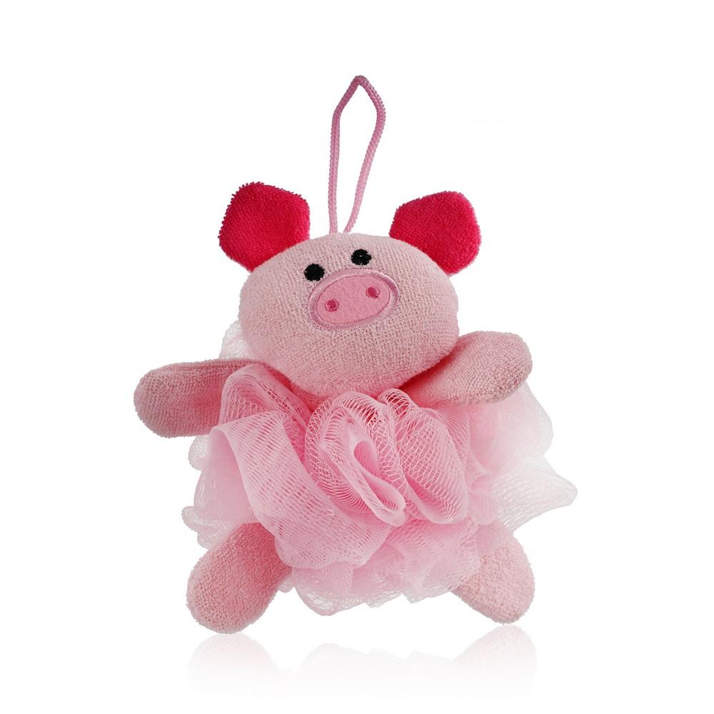Фото - Мочалка с игрушкой для душа и ванны Bambolina  Свинка  мочалка алтын бай с каменным маслом бежевый